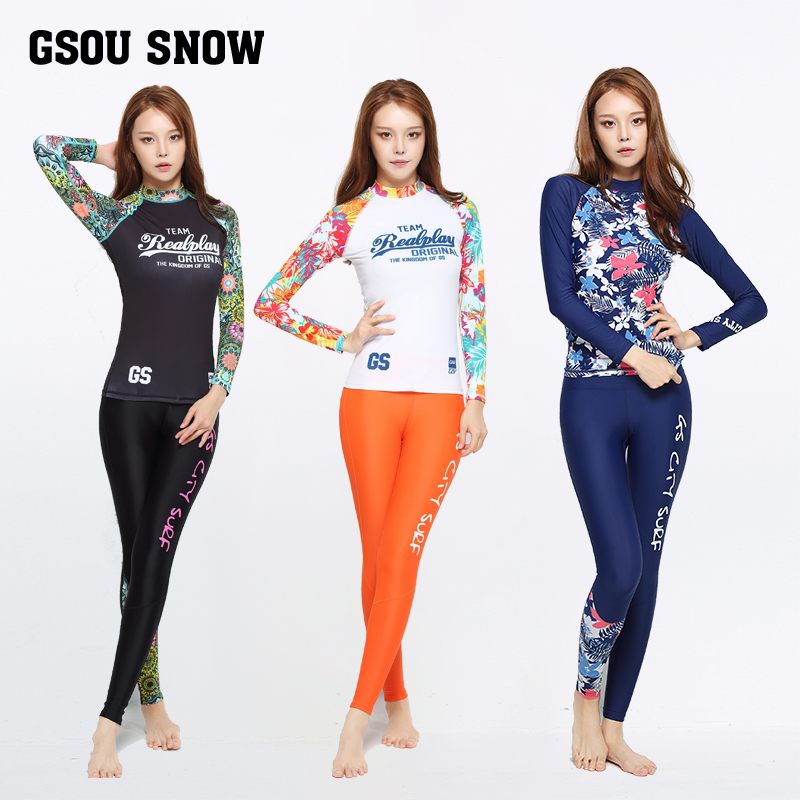ФОТО Gsou snow diving suit female split long sleeve zip outdoor swimming suit surf snorkeling jellyfish sunscreen