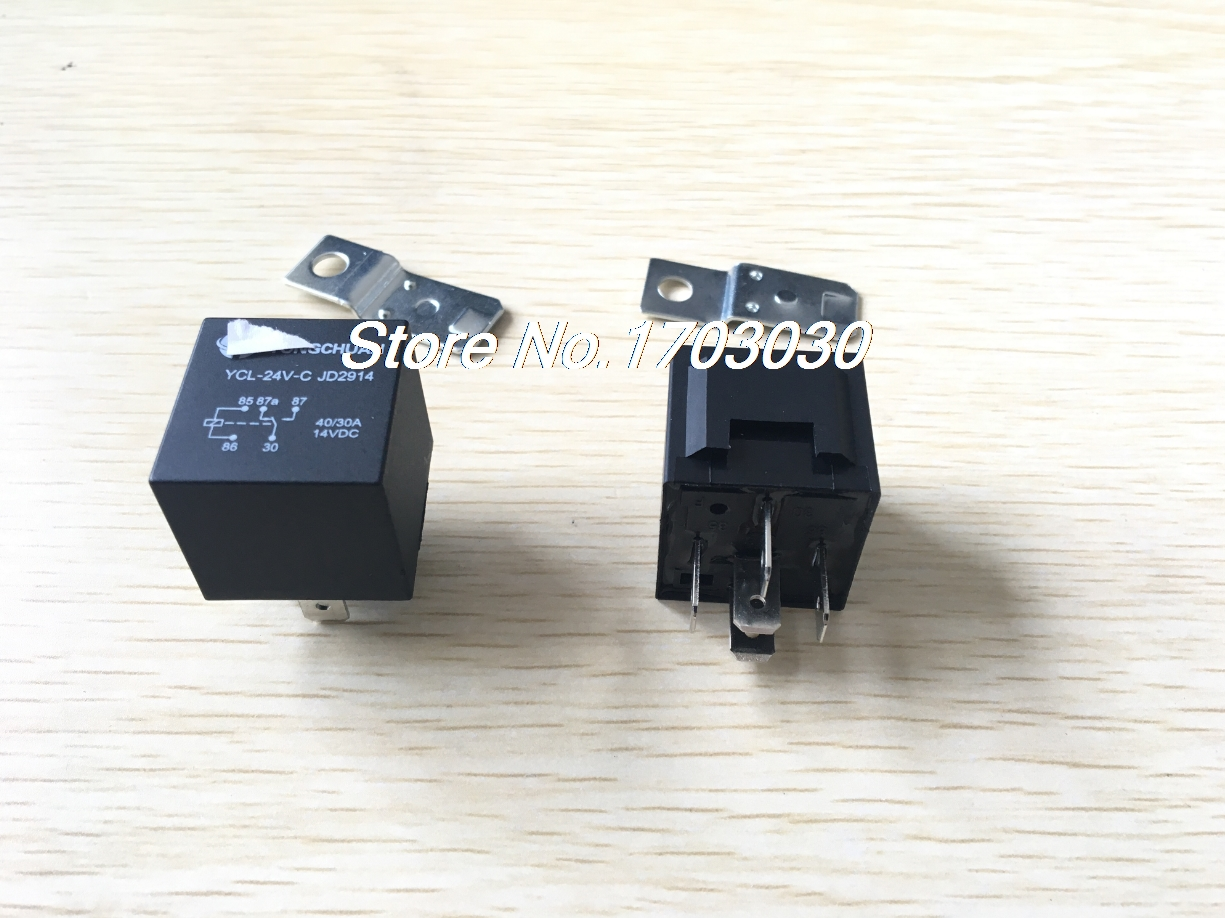 цена на DC 24 Volts 40/30A 1NO+1NC SPDT 5 Pin JD2914 Type Auto Car Relay 10 Pcs