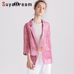 Image 1 - Women blazers 50% 실크 50% 리넨 솔리드 3/4 sleeved office 레이디 블레이저 2019 new fall winter out wear