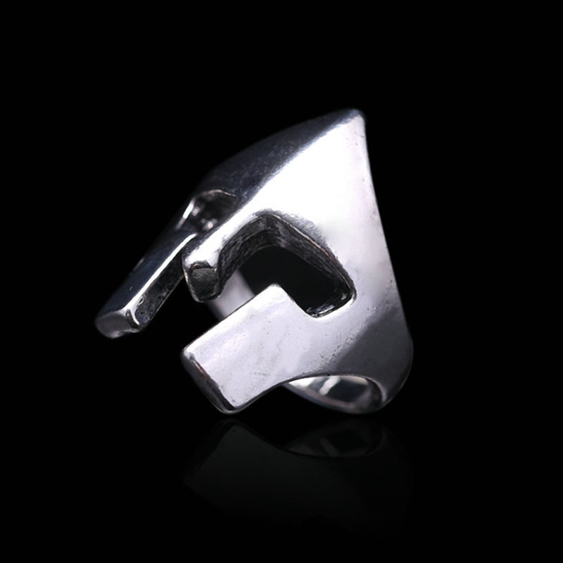 Mens Jewelry with Silver Plated Helmet Shaped Titanium Stainless Steel Biker Ring Size 8-11