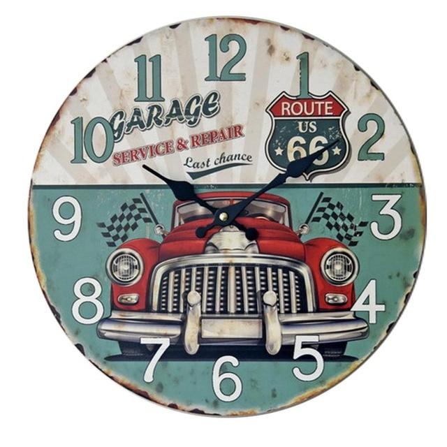 Gaya eropa retro rumah mode klasik mobil kayu solid jam dinding diam diam jam  jam elektronik 1402526f8f