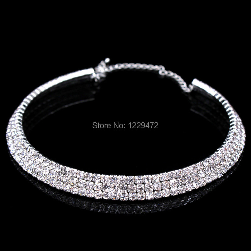 TREAZY Classic 3 Row Rhinestones Crystal Silver Necklace Earrings ... 7d04dbbc4631