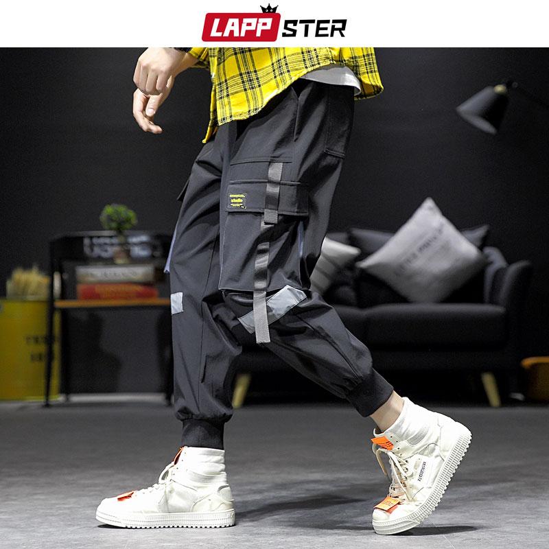 LAPPSTER Streetwear Hip Hop Cargo Pants 2019 Autumn Mens Baggy Pockets Ribbon Joggers Pants Men Japanes Style Black Harem Pants