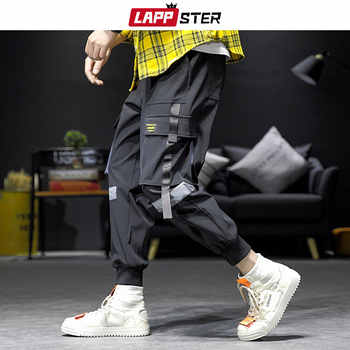 LAPPSTER Streetwear Hip Hop Cargo Pants 2019 Autumn Mens Baggy Pockets Ribbon Joggers Pants Men Japanes Style Black Harem Pants - DISCOUNT ITEM  50% OFF All Category