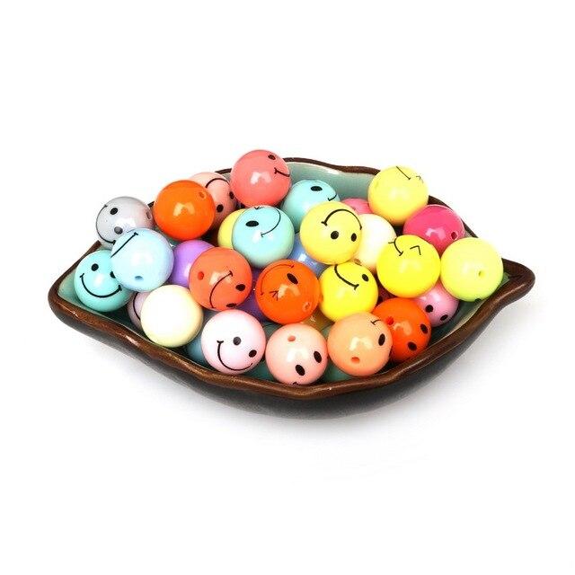 40 unids 14mm mezclado cara sonriente bola redonda espaciador cuentas acrílico plástico para DIY collar pulsera joyería y fabricación artesanal