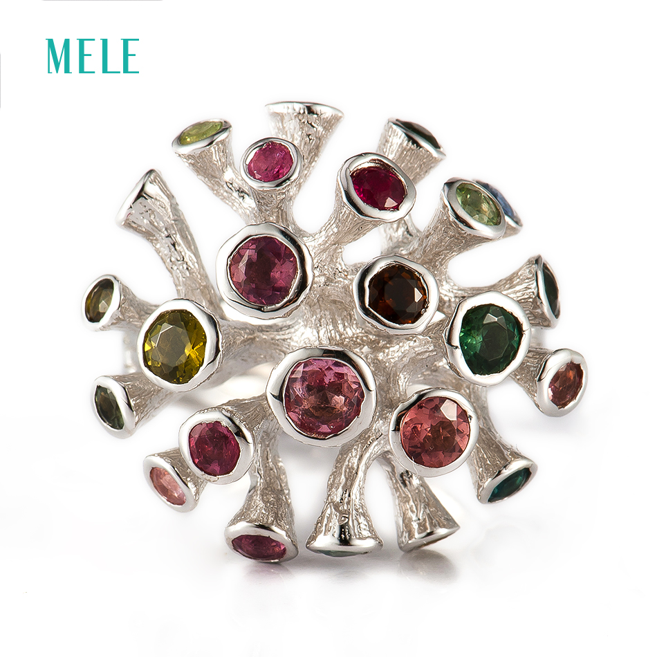 Natural colorful gemstone silver ring, t