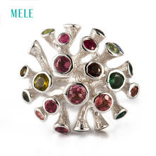 Natural tourmaline silver ring, special design fashion and popular, 21mm for whole size
