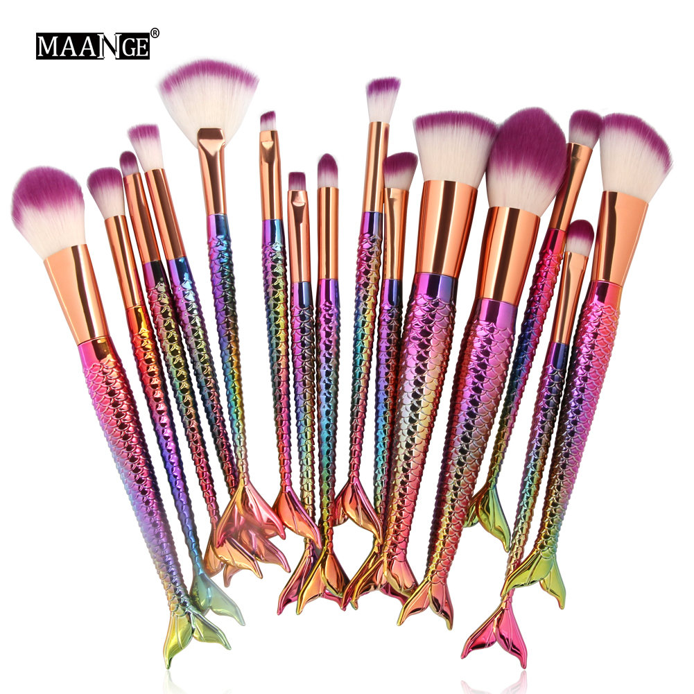 6-15pcs Mermaid Makeup Brushes Set Eyeshadow Eyeliner Blush Blending Contour Foundation Cosmetic Make Up Brush Tools Kit 15pcs cosmetic makeup brush women foundation eyeshadow eyeliner lip make up eye brushes set