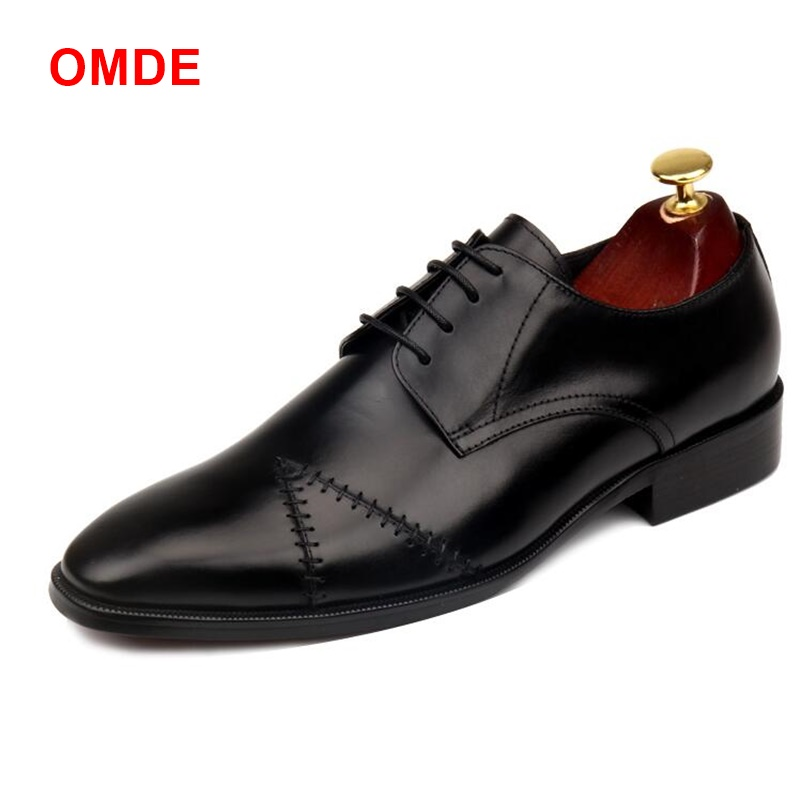 OMDE British Style High-end Business Formal Shoes For Men Genuine Leather Lace-up Mens Dress Shoes New Handmade Stitching Shoes classic style classic mens dress shoes deep coffee color genuine leather oxford shoes for men lace up pointy loafers high heels