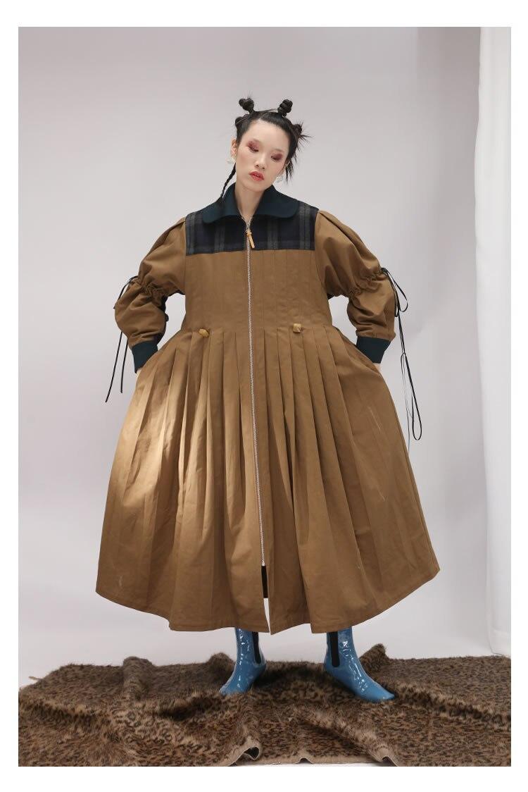Tranchée Unie Turn Patchwork Plissée Automne down Couleur Femmes Mode Femme Multi Pleine Lâche Zll2418 Manteau 2018 Manches Collar OZI8xwq