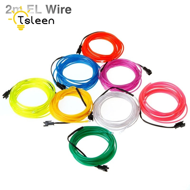 TSLEEN 2M 4Pcs/Lot LED Neon Wire Lights 3V Multiple Colors EL Wire ...