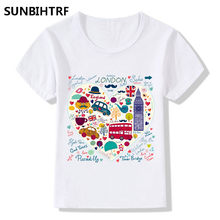 Children Summer Hand Drawn Color London Bus Design Funny T shirt Kids Baby Clothes Big Boys Girls Casual Soft Baby Clothes(China)