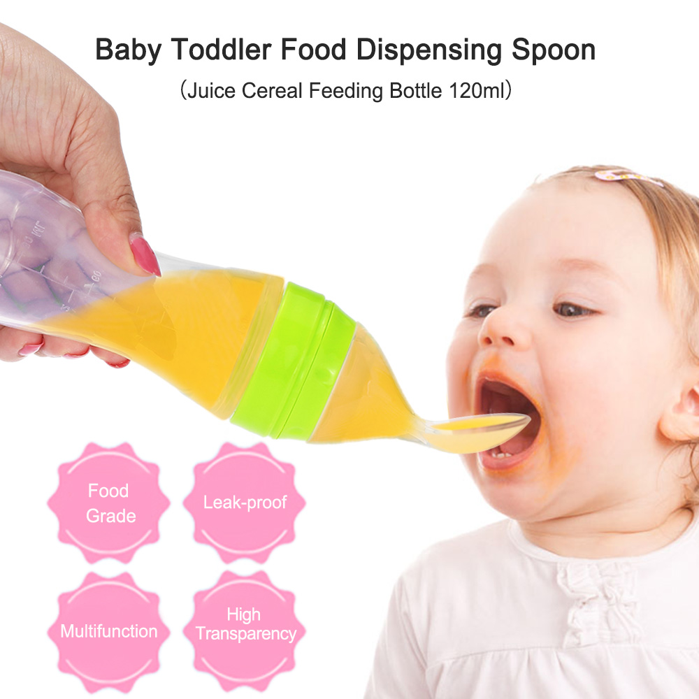 120ml Baby Bottle Toddler Leak proof Silicone Feeding Bottle With Spoon Food Supplement Juice Drink Water