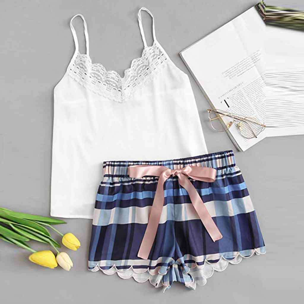 Fashion Women Lace Lattice Print Pajama Set Casual Sexy Cute Female Underwear And Shorts Pajama Set Clothes pigiama donna