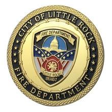 Вся поставка золотое покрытие город маленький камень пожарный отдел наградная монета/медаль 1350