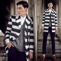 Траншеи пальто мужчины 2017 осень и зима верхняя одежда мужская теплый мода полосой средней длины шерстяные траншеи