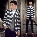 trench coat men 2017 autumn and winter outerwear mens warm fashion stripe medium-long woolen trench