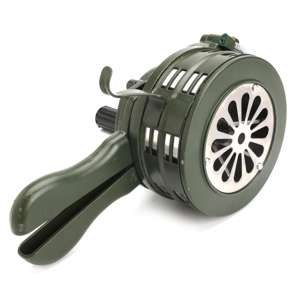 FGHGF Green Aluminium alloy Crank Hand Operated Air Raid Emergency Safety Alarm Siren Home Self Protection Security Alarm Siren ac110v 160db motor driven air raid siren metal horn industry boat alarm