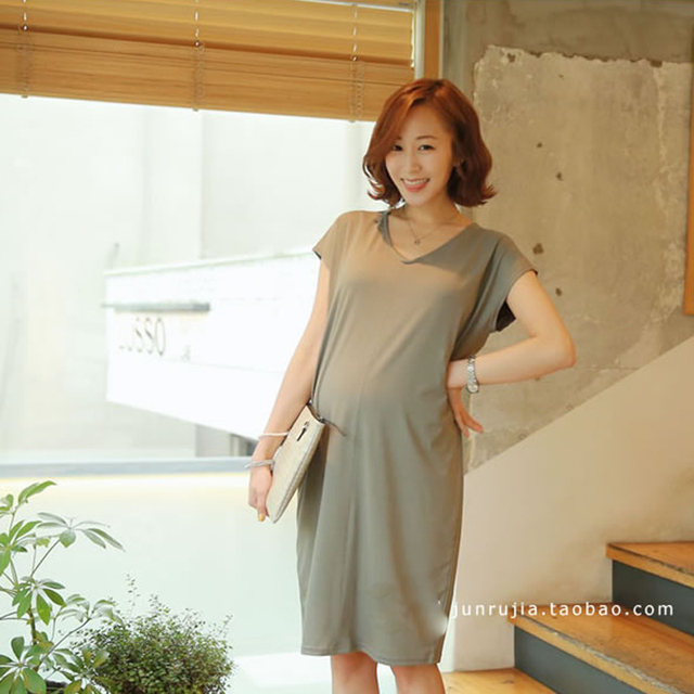 a78adc7ff2a30 2016 Summer Maternity Clothes Korean Modal Cotton Short-sleeved In The Long  Section Pregnant Women