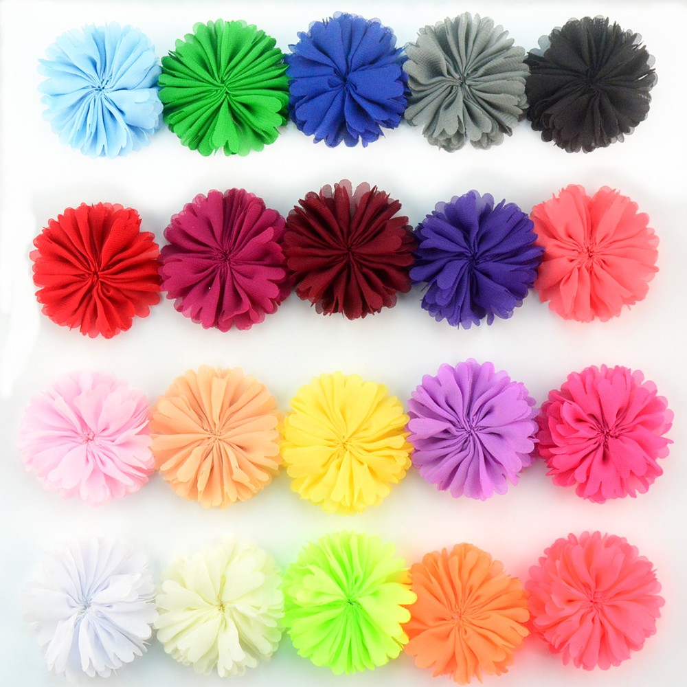 200pcs lot 20 Color U Pick 6cm Sewing Chiffon Ballerina Twirl Flowers Unfinished DIY Boutique Hair