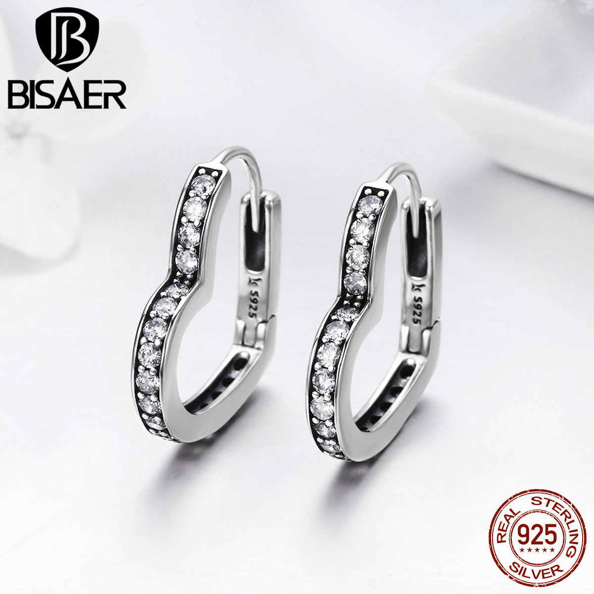 BISAER 100% Bijoux 925 Sterling Silver Dazzling CZ Heart Shape Exquisite Stud Earrings for Women Silver Earrings Jewelry GXE290