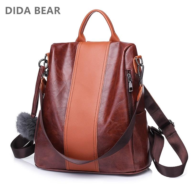 DIDA BEAR 2018 New Women Fashion Backpacks Female School Bag For Teenagers Girls Large Travel Bags Rucksack Black Soft Leather