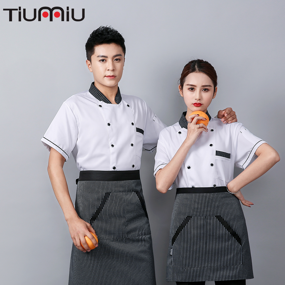 Wholesale Chef Shirt Summer Breathable Mesh Short Sleeve Work Clothes Bakery Kitchen Hot Pot Restaurant Catering Waiter Overalls