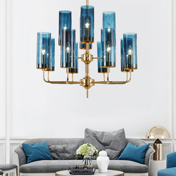 Modern Kaca Lampu Gantung Lampu Mewah Lampu Langit-langit LED Logam Hanglamps untuk Ruang Tamu Ruang Makan Perlengkapan Dapur Kilau