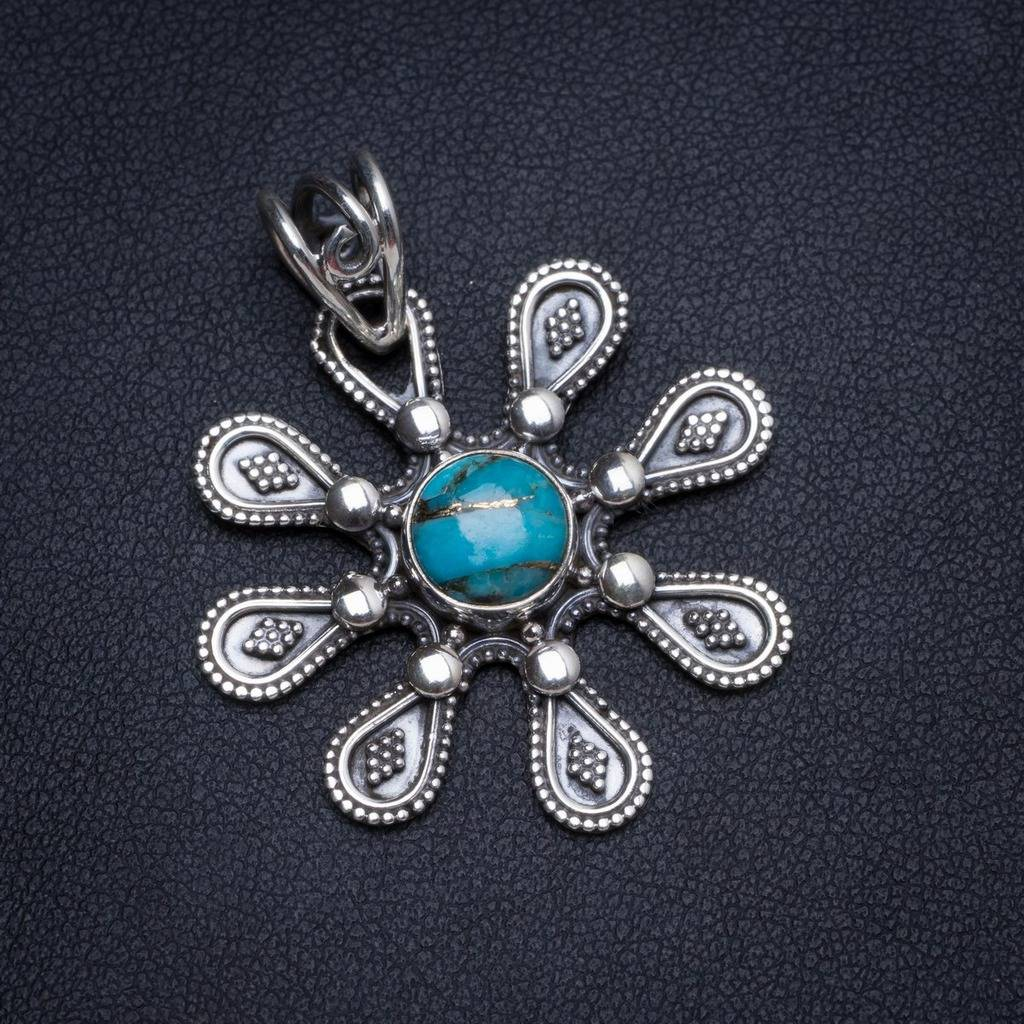 Natural Turquoise Handmade Unique 925 Sterling Silver Pendant 1.5
