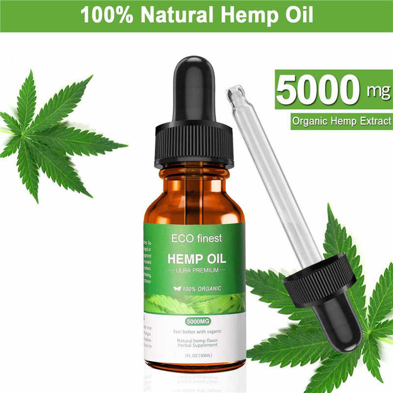 30ml Organic Hemp Oil for Pain Relief Sleep Aid Anti Stress 1000mg Hemp Extract Drops ECO Finest Facial Body Skin Care Help Slee