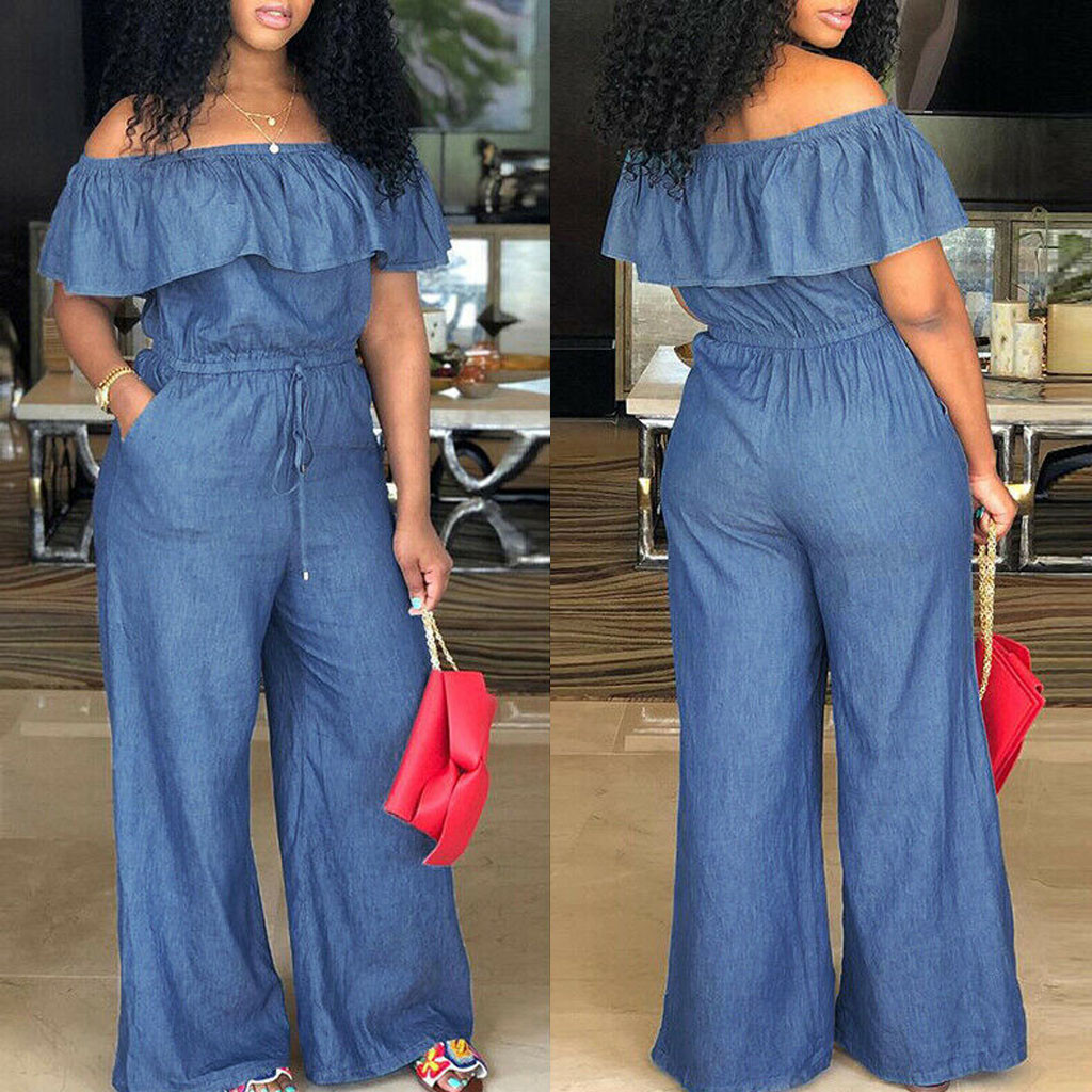 Plus Size Jumpsuits And Rompers For Women Off Shoulder Denim Jeans Look Long Party Club Playsuits Jumpsuits Overalls 2019