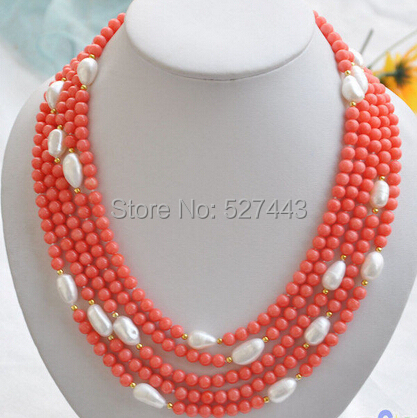 Wholesale free shipping >S1540 natural 5row 21 pink coral bead white baroque pearl NECKLACE