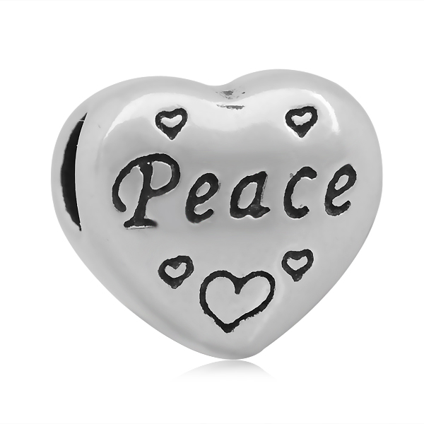FNIXTAR 11*12mm PEACE Heart Shape Large Hole 316L Stainless Steel Jewelry components European Style Charms Beads SEB-LG235
