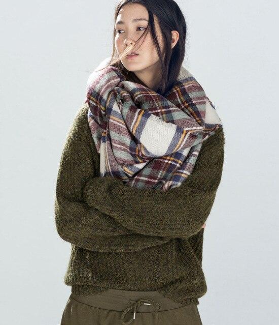 Za Plaid Scarf Women Winter font b Tartan b font Scarves Soft England School Girl Style