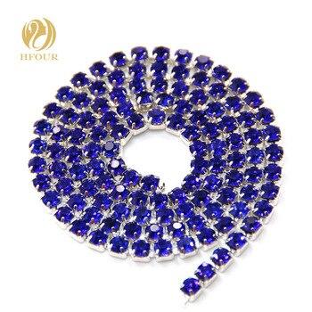 Envío Gratis 5 yardas/Paquete de alta calidad base de plata cristal azul real diamantes de imitación cadena de la taza DIY accesorios de la decoración de la boda