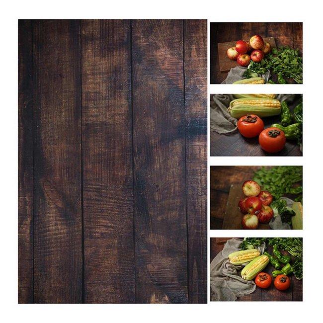 56 * 90 cm / 22 * 35in Doppelte Seiten Hölzerner Zementwandmarmor als VINTAGE-Fotografie Hintergrund-Pappe für Lebensmittel
