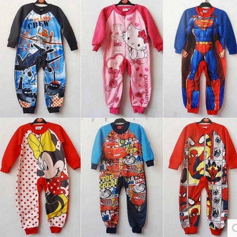 Cartoon cars Fleeces rompers for kids Spiderman Iron Man print romper for boy sleepwear long sleeve jumpsuit pajamas KD065