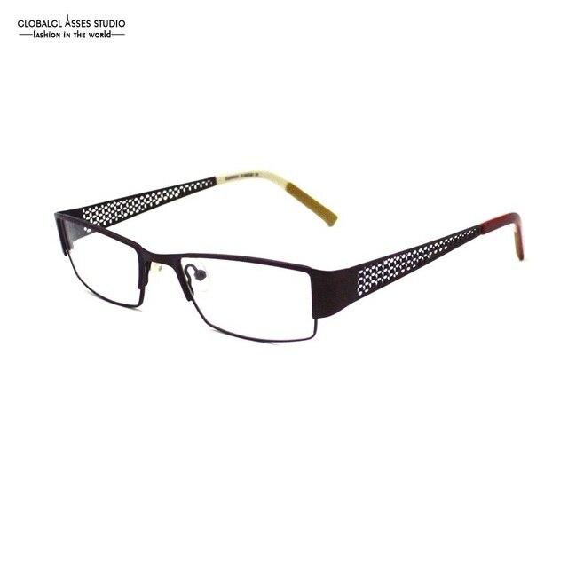 f44b7e204 Fashion Rectangular Metal Glasses Frame Hollow Temple Acetate Tip  Prescription Optical Glasses Frame PM12031