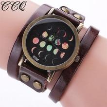 CCQ Model Ladies Informal Moon Phases Sample Unisex Puck Rivet Quartz Wrist Watch Trend Classic Fashion Leather-based Wristwatch C95