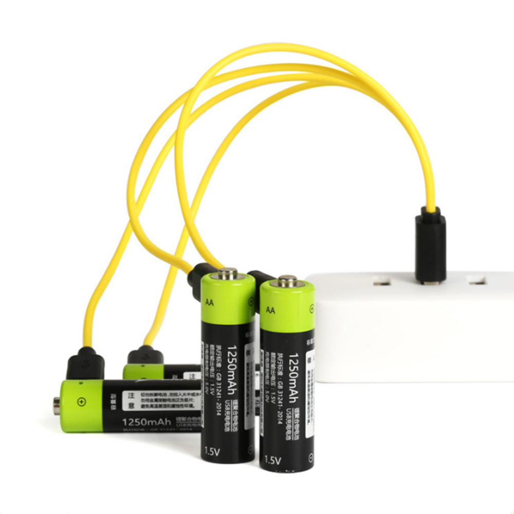 ZNTER AA Rechargeable Battery 1.5V AA 1250mAh USB Charging Lithium Battery Bateria With Micro USB Cable