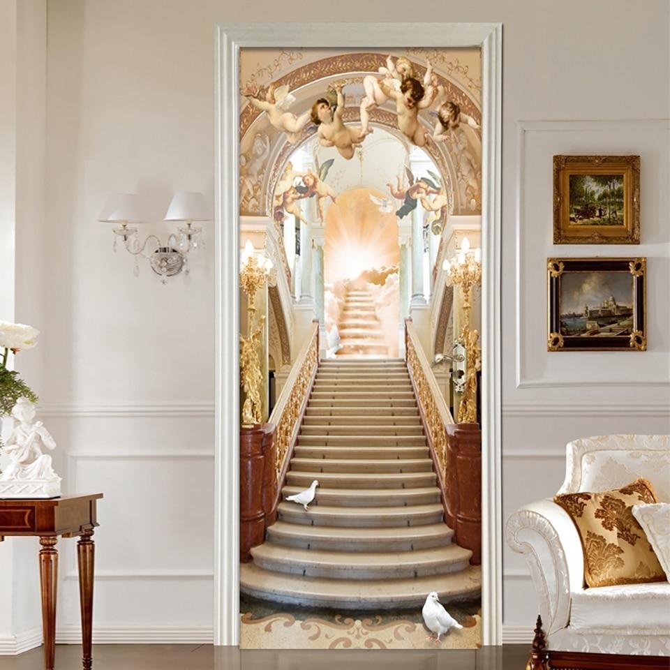 Waterproof Art Home Decoration Decal Jesus Religion PVC Angel Door 3D Print Sticker Self Adhesive Diy Paper For Bedroom Sticker