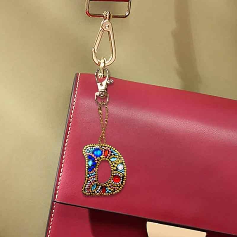 Diy の完全なドリル手紙ダイヤモンド塗装キーホルダー樹脂女性バッグジュエリーペンダント
