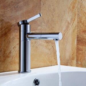 Image 3 - Grifos de lavabo de latón para baño, mezclador de lavabo, caño giratorio, Color blanco, LT 701L