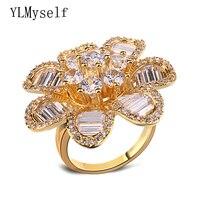 2017 Nueva gran anillo de flores de diseño de Alto grado de moda Hipérbole party proveedor de joyas encanto de Las Mujeres grandes anillos joyería de lujo