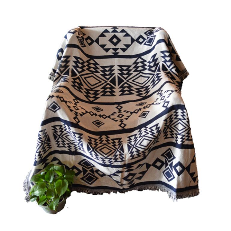 Kilim white 100 cotton Bohemia Rug Carpet Exotic Geometric Bedding Knitted Couch Cover throw Blanket body sofa for picnic floor in Carpet from Home Garden