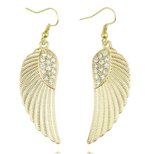 Women S Hot New Fashion Rhinestone Angel Wings Earrings Silver Gold In Drop From Jewelry Accessories On Aliexpress Alibaba Group