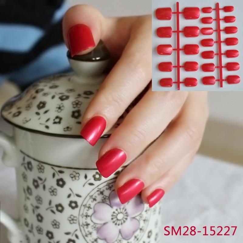 24 stks dame platte nep nagels koningin rode zoete snoep korte nagels - Nagel kunst
