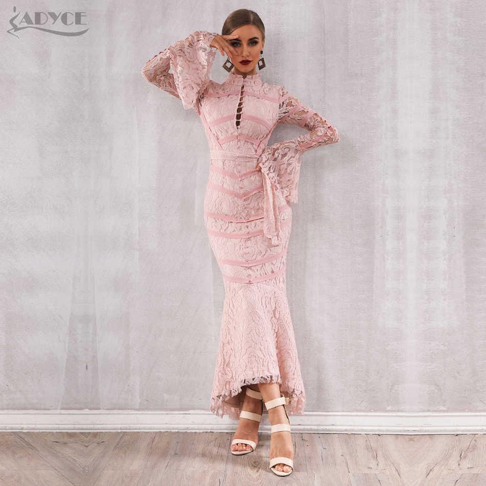 Женское длинное кружевное платье-русалка ADYCE, нежно-розовое, черное бандажное платье с длинными рукавами, в стиле звезд, для клуба и вечеринки, для зима 2019