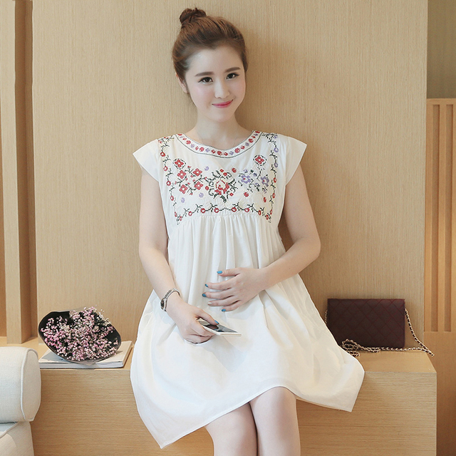 82123dad3 Maternity Embroidered Short Sundress Dress Ropa Maternal Premama Pregnant  Women Maternity Summer Dress Sleeveless