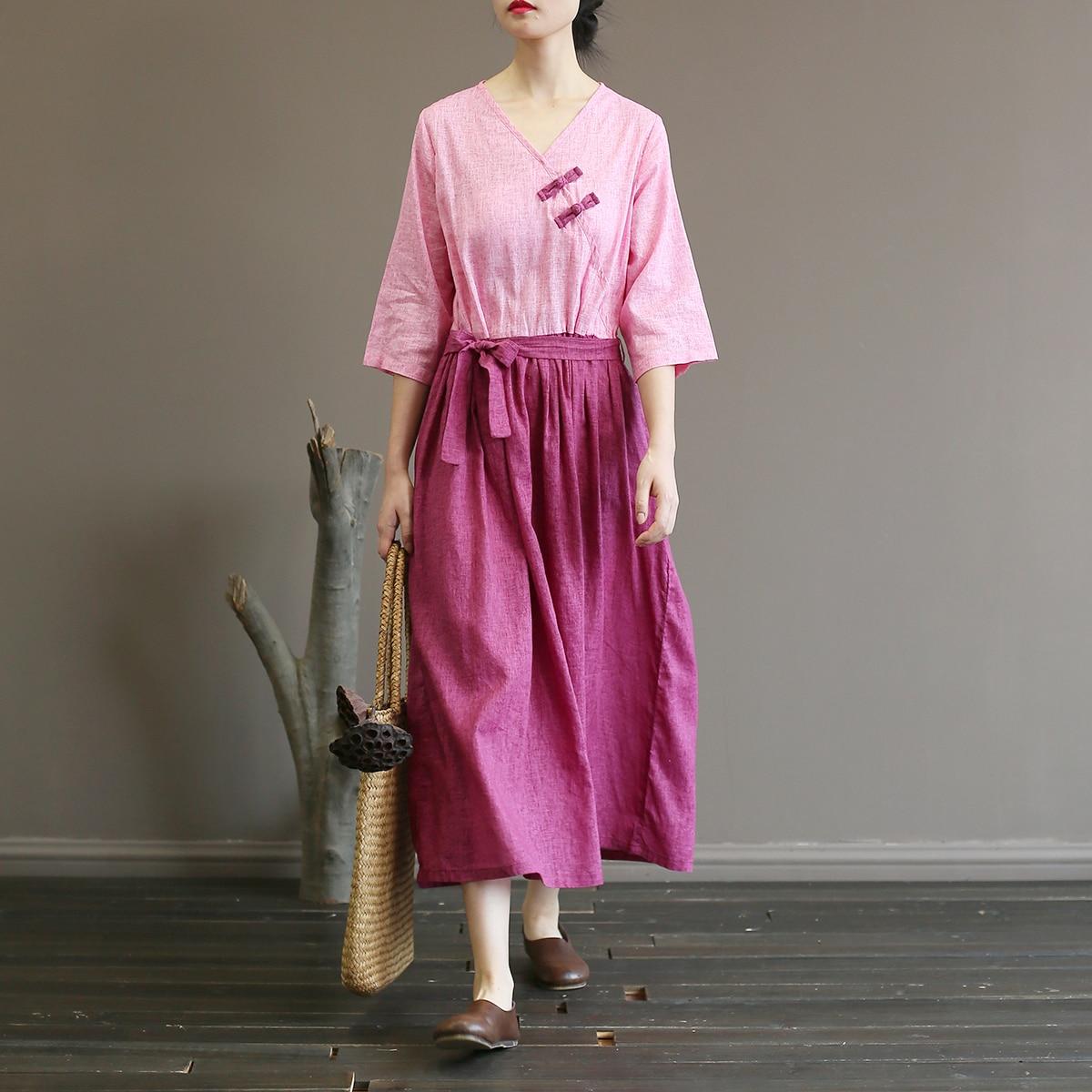 Femmes rétro coton lin robe dames coton lin rétro Vintage robe femme automne robe Patchwork robes